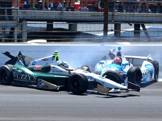 James Hinchcliffe takes out pole-sitter Ed Carpenter on Lap 175 in what turned out to be a crucial crash in the 2014 Indy 500.