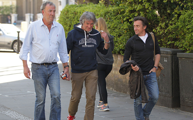 The former Top Gear boys on the way to the pub to discuss their new motoring show options.