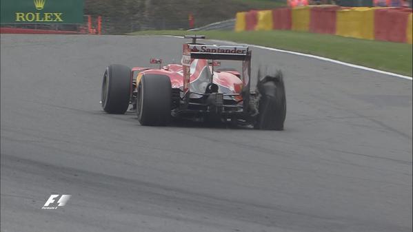 Vettel's tire shreds on Lap 42 at the 2015 Belgian Grand Prix.